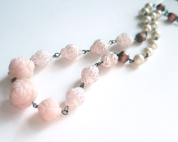 long pastel necklace vintage beads pearls