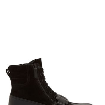 Alexander Wang Black Suede And Rubberized Leather Kade Boots