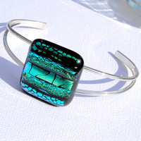 Gorgeous Green Bangle Bracelet, Fused Glass Jewelry, Dichroic Glass, Cuff Bangle Bracelet, Boho Stylish (item 20061-B)