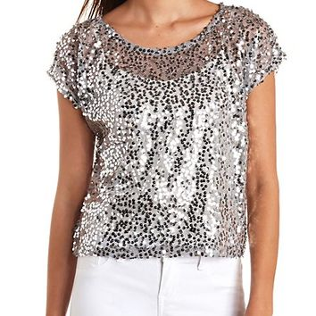 Sheer Sequin Swing Tee by Charlotte Russe - Silver