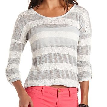 MIXED STITCH STRIPED PULLOVER SWEATER