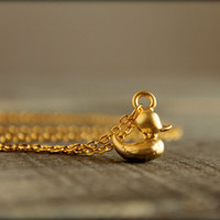 Rubber Ducky Necklace in Matte Gold