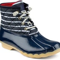 Sperry Top-Sider Saltwater Duck Boot Navy/Stripe, Size 12M  Women's Shoes