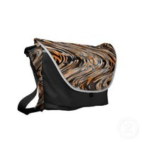 Tiger Print Safari Illusion modern Stripe Messenger Bags from Zazzle.com