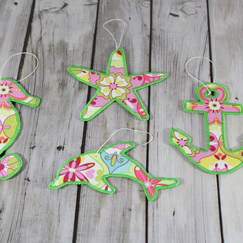 Ocean Beach Christmas Ornament Pink and Green Collection with Seahorse, Dolphin, Anchor and Starfish