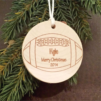 Round Wooden Christmas Ornament, Sports Themed, Engraved, and Personalized with a Football