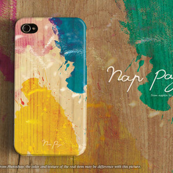 Apple iphone case for iphone iphone 5 iphone 5s iphone 5c iphone 4 iphone 4s iPhone 3Gs : colorful watercolor on wood (not real wood)