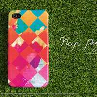 Apple iphone case for iphone iphone 5 iphone 5s iphone 5c iphone 4 iphone 4s iPhone 3Gs: scott plaid with watercolor on wood (not real wood)
