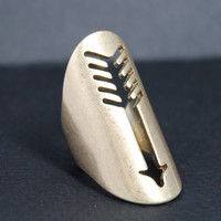 Tribal and Boho Gold House of Harlow Inspired Large Arrow Cutout Ring