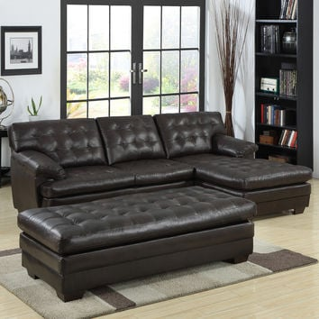 TRIBECCA HOME Delphine Dark Brown Bonded Leather Sectional Set