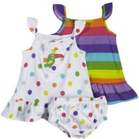 Carter`s Girls Rainbow Dots and Stripes 2 Pack Summer Dresses