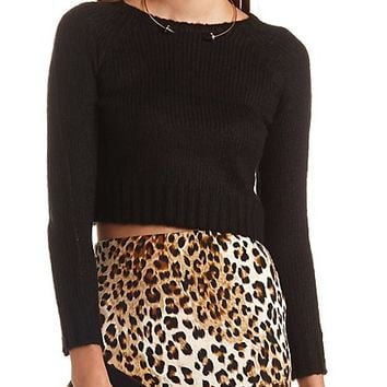LONG SLEEVE CROPPED CREW SWEATER