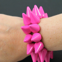 Raspberry Punk Spike Bracelet