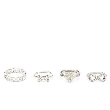 INFINITY, HEART & BOW STACKABLE RINGS - 5 PACK