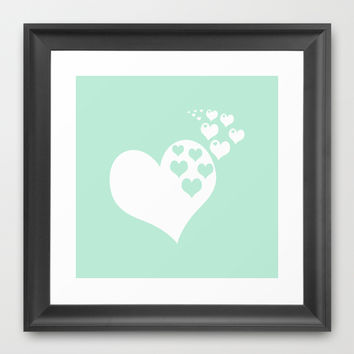 Mint White Hearts of Love Framed Art Print by BeautifulHomes