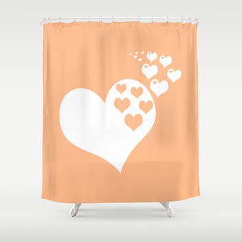 Peach Orange Hearts of Love Shower Curtain by BeautifulHomes