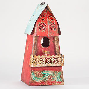 Red Metal Birdhouse