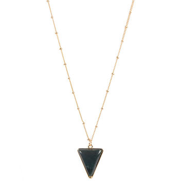TRIANGLE STONE PENDANT LONG NECKLACE - BLACK/GOLD
