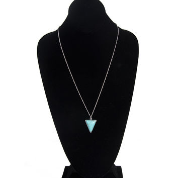 TRIANGLE STONE PENDANT LONG NECKLACE - TURQUOISE/SILVER