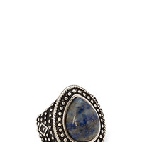 FOREVER 21 Etched Earth Stone Ring Burn.S/Blue