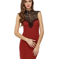 Romance Lace Dress - Open Back Dress - Rust Red Dress - $40.00