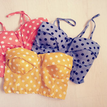 Vintage Polka Dottie Bustier Bralet Crop Top in Mustard, Sky Blue and Sunkiss Orange
