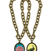 Flower/Peacock handmade reversible charm bracelet - 