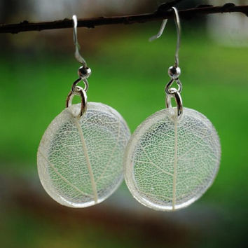 Pressed Leaf Earrings White Leaf Veins Resin Jewelry Transparent  Silver Plated