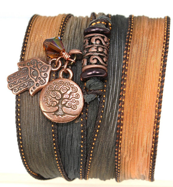 Hand Dyed Silk Wrap Bracelet -Copper Canyon with Antique Copper Hamsa, Tree of Life, and Smoky Topaz Swarovski Crystals