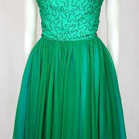 Vintage 1950s Green Chiffon Beaded Cocktail Dress