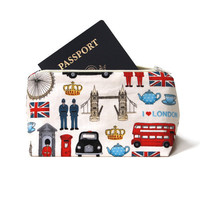 London, England Themed Cosmetic Bag - Summer Travel Toiletry  Bag - Limited 2012 Olympics Edition - Graduation/Birthday Gift Idea