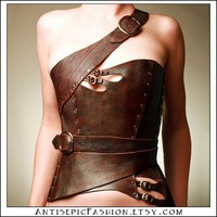 Gula Asymmetrical Over Bust Leather Corset by AntisepticFashion