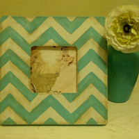 Chevron Stripe Picture Frame in Tiffany Blue and White