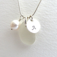 Personalized Sea Glass Necklace - Handstamped Sterling Silver