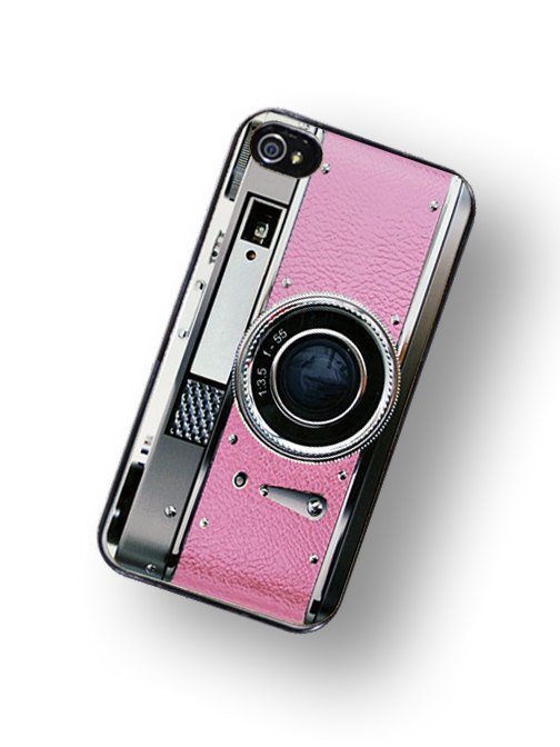 iPhone Case Retro Pretty In Pink Camera Hard Phone Case / Fits Iphone 4, 4S