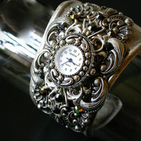 Silver Women's Bold Wide Cuff Watch with Swarovski  Rhinestones  - Steampunk  Victorian Gothic