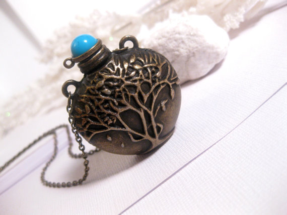 Tree Of Life Magic Potion Bottle Necklace In Antiqued Bronze - Long Necklace