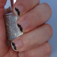 Mustache Nail Art Decals Set of 50 Vinyl Stickers Applique Manicure Pedicure Party Event Accessories
