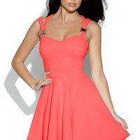 Neon Pink Cut Out Skater Dress with Sweetheart Neck