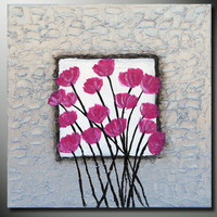 Free Shipping Original Abstract Poppies Flower Fine Art Heavy Textured Acrylic Painting on canvas Modern Floral