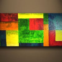 Amazing Custom HUGE Original Heavy Textured Modern Abstract COLORFUL painting by ORIT with Certificat of Authenticity
