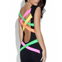 Black Bodycon Dress with Colorful Neon Strap Back