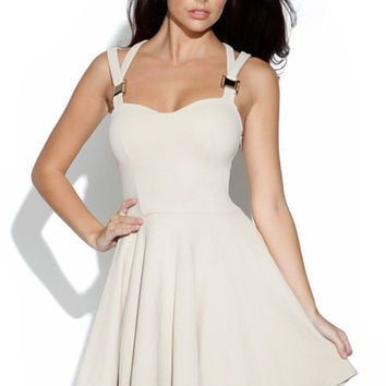 Stone Cut Out Skater Dress with Sweetheart Neck