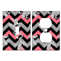 Chevron Switchplate and Electrical Outlet Set Spotted Frogs in Pink Gray Black