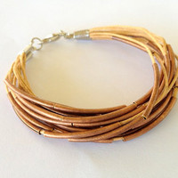 Tan and Bronze Multi Strand Bracelet