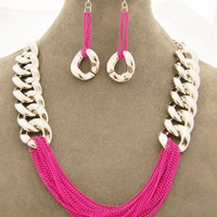 pink chain necklace, cheap fun jewelry, cheap trendy jewelry, summer 2012 fashion trends, pay less shoes — Cents Of Style