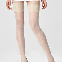 Lace Grain Jacquard Weave Cream Tights [ALX0030] - $17.99 :