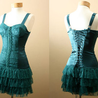 TWO LEFT - Ultimate Statement and Party Dress, Corset, Bodice Style Top, Ruffles with Lace