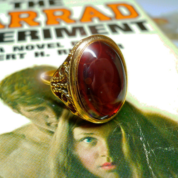 60s Vintage GOTHIC RING Adjustable Deep Ruby Glass