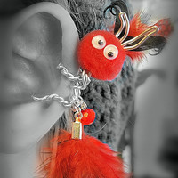 Ear Cuff - Monster, Creature, Critter, Feathers, Pompom, Wire Wrap. Google Eyes- Crystal Bead, Red, Black -OOAK Jewelry